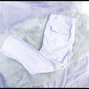 American Eagle White Slouchy Skinny Cargo Pants
